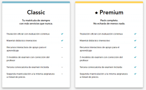 Matrícula Classic y matrícula Premium