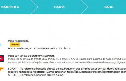 Métodos de pago en ILERNA Online