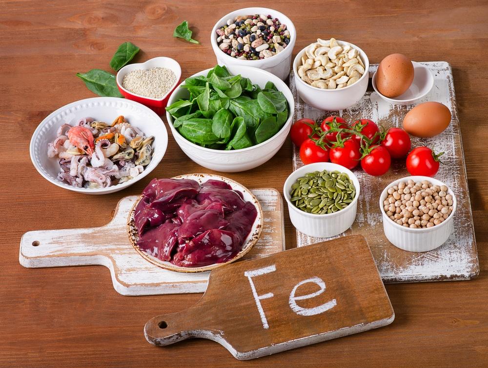 Algunos alimentos ricos en hierro, para contrarrestar la anemia ferropénica.