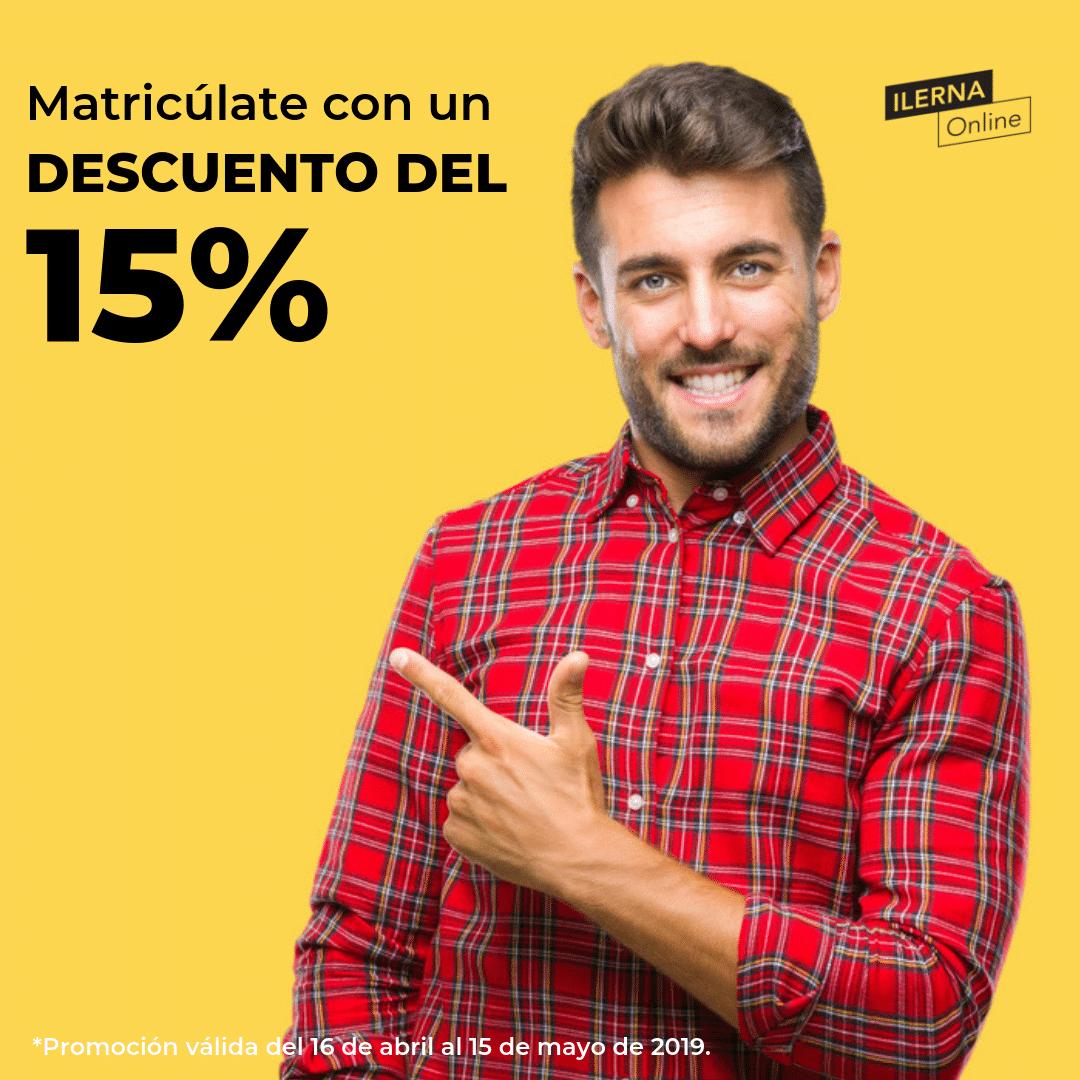 ¡Matricúlate con un descuento del 15%!