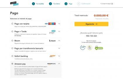 Con Amazon Pay podrás pagar tu matrícula de forma segura