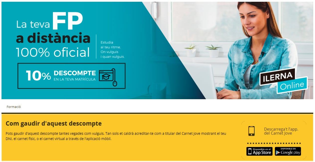 ILERNA Online tiene convenios con Carnet Jove y con otros colectivos para ofrecer descuentos.