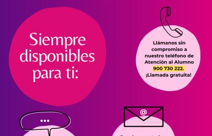 Puedes contactar con ILERNA Online a través de correo electrónico, chat y teléfono