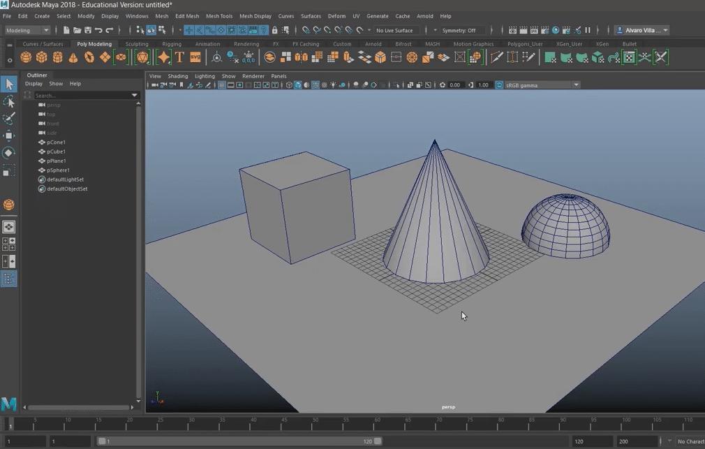 Crear polígonos y otras geometrías con Maya es muy sencillo.