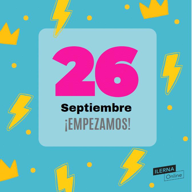 El inicio del nuevo curso y semestre de ILERNA Online es el 26 de septiembre