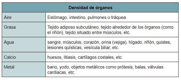 densidad radiológica, niveles de penetración radiológica, radiología simple, radiografía simple